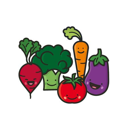 Kawaii vegetables group vector illustration for Fresh veggies Day on June 16. Healthy eating concept cartoon character set