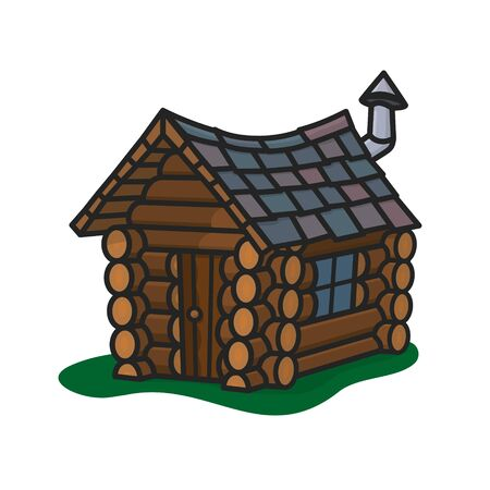 Small crooked log cabin isolated vector illustration for Log Cabin Day on June 28th. Wooden shack color symbol.