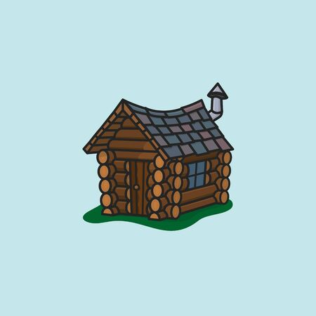 Small crooked log cabin vector illustration for Log Cabin Day . Wooden shack color symbol.