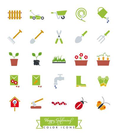 Collection of colored gardening icons vector illustration Vektorgrafik
