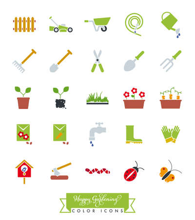 Collection of colored gardening icons vector illustration