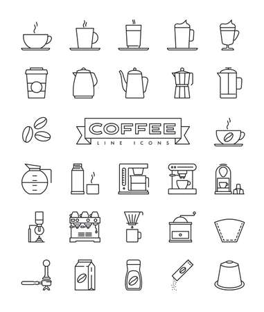 Coffee vector outline icons set. Collection of symbols related to coffee preparation and drinking. Illusztráció