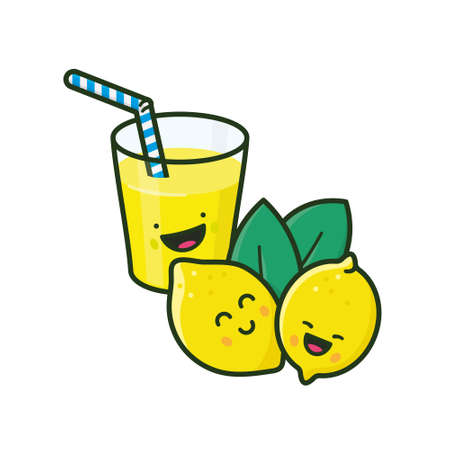 Cute lemons and lemonade isolated vector illustration for SCUD Day on July 8. Save The Comic and Unplug The Drama concept. If life gives you lemons make lemonade saying illustrated. Vettoriali