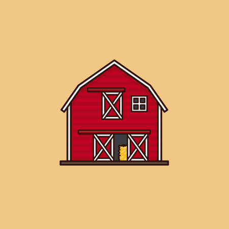 Traditional American red barn vector illustration for Barn Day on July 12. Agricultural building symbol.