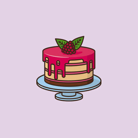 Raspberry cake vector illustration for Raspberry Cake Day on July 19th. Sweet pastry symbol Illustration