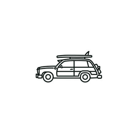 Woody Wagon automobile vector line icon for National Woody Wagon Day on July 18.Surfer car outline symbol.