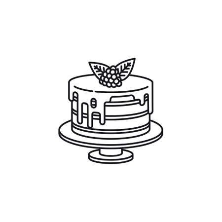 Raspberry cake vector ilie icon. Sweet fruit pastry outline symbol Standard-Bild - 151345444