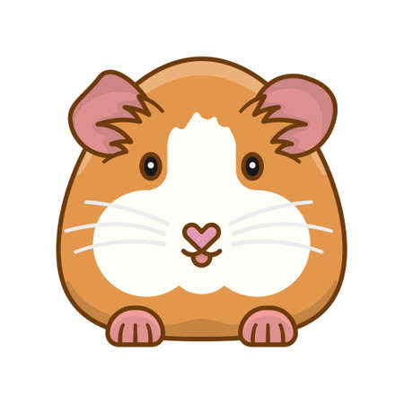 Cute Guinea Pig cartoon isolated vector illustration for Guinea Pig Appreciation Day on July 16.