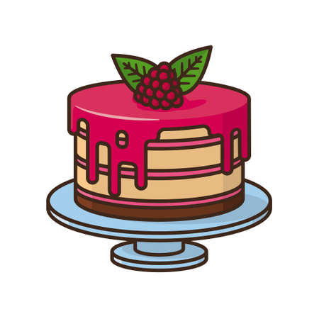 Raspberry cake isolated vector illustration for Raspberry Cake Day on July 19th. Sweet pastry symbol