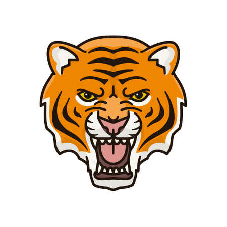 Roaring tiger face isolated vector illustration for International Tiger Day on July 29.
