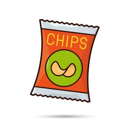 Potato chips bag isolated vector illustration Unhealthy eating symbol. Ilustração