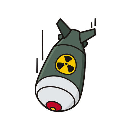 Fat man nuclear bomb isolated vector illustration for Hiroshima Day on August 6. Nuclear warfare and atomic bombings remembrance symbol.