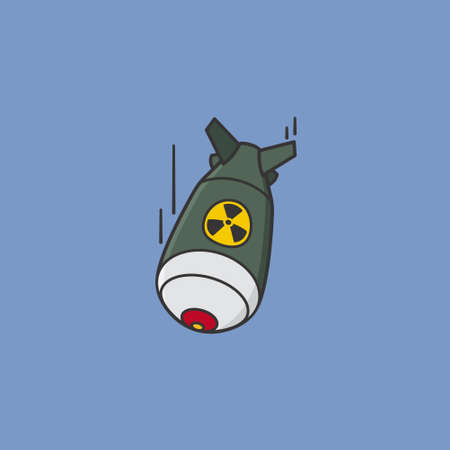 Fat man nuclear bomb vector illustration for Hiroshima Day on August 6. Nuclear warfare and atomic bombings remembrance symbol.