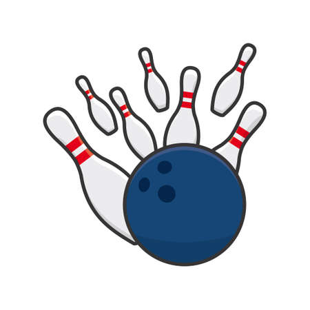 Bowling ball striking isolated skittles vector illustration for bowling Day on August 8th. Indoor ball game symbol 向量圖像