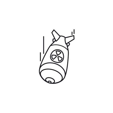 Fat man nuclear bomb vector line icon. Nuclear warfare and atomic bombings remembrance outline symbol.