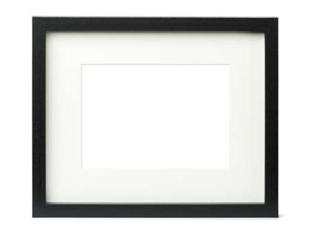 Textured black picture frame matte, isolated on white background, blank image area masked