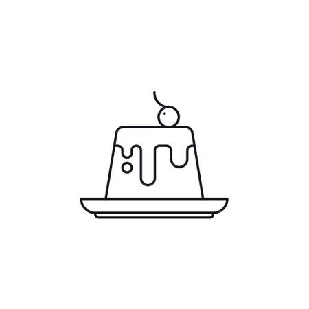 Pudding or custard with sauce and cherry on top vector line icon Illustration
