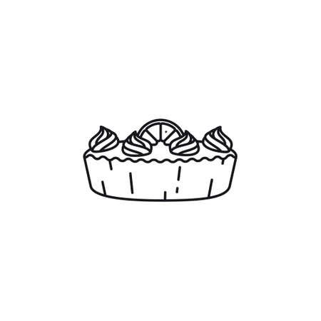 Lemon meringue pie line icon vector illustration. Delicious pastry outline symbol.