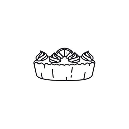 Lemon meringue pie line icon vector illustration. Delicious pastry outline symbol.