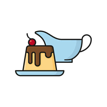 Pudding with chocolate sauce and cherry, gravy boat in back, isolated vector illustration for Vanilla Custard day on August 17. Illustration