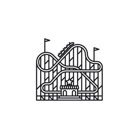 Roller coaster vector line icon ,. Amusement park ride outline symbol. Ilustración de vector