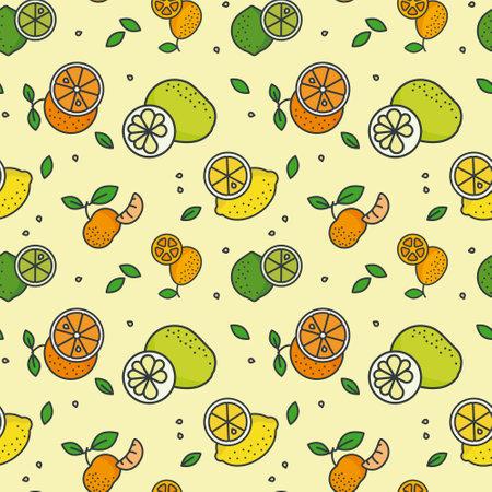 Citrus fruit variety seamless vector pattern wallpaper. Lemons, limes, pomelos, mandarin oranges and kumquats on pastel yellow background.