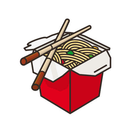 Chinese take-out Food box and chopsticks vector illustration for Chop Suey Day on August 29. Asian food isolated color symbol.
