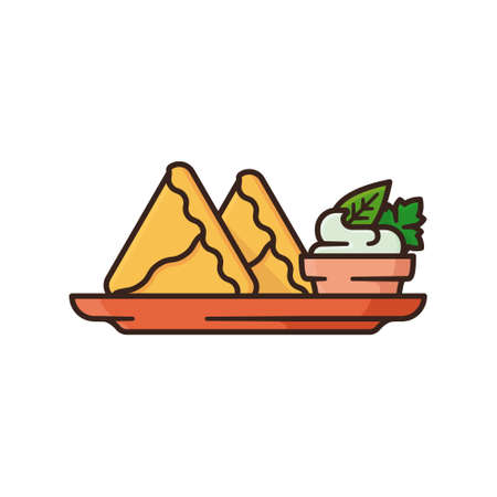 Indian Samosa on plate with cilantro and mint chutney in bowl isolated vector illustration for Samosa Day
