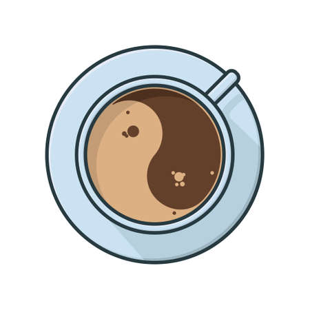 Coffee cup with yin-yang shaped crema top view isolated vector illustration for Coffee Day on October 1.