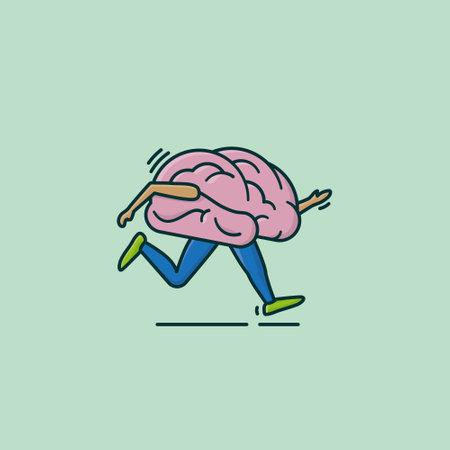 Running brain cartoon vector illustration for Train Your Brain Day on October 13 Vector Illustratie