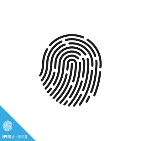Fingerprint vector icon. Cyber security and biometric identification symbol.