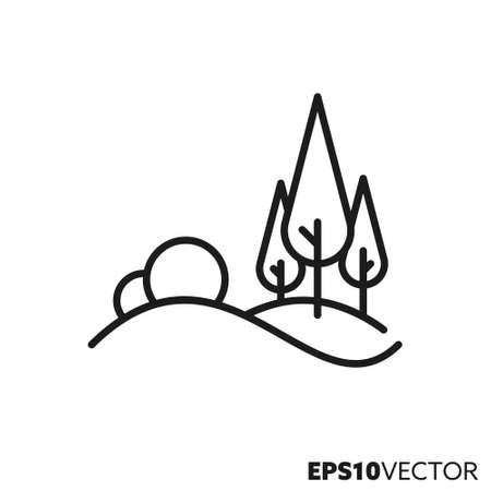 Hilly landscape line icon. Rolling hills outline symbol. Environment, nature and landscape concept vector illustration.