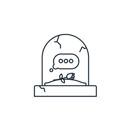 Tombstone with empty text message bubble vector line icon for Plan Your Epitaph Day on November 2