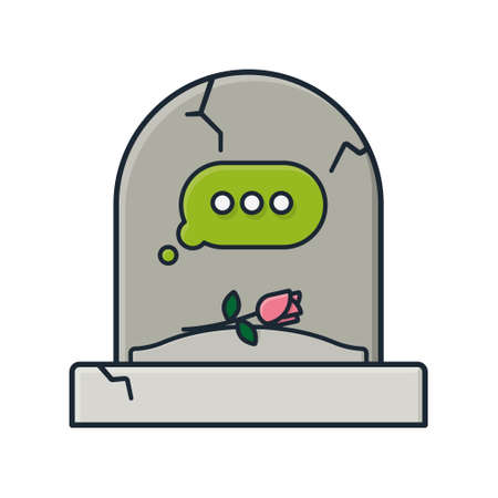 Tombstone with empty text message bubble isolated vector illustration for Plan Your Epitaph Day on November 2