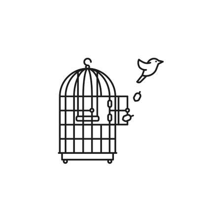 Canary bird escaping from birdcage vector line icon for Freedom Day on November 9