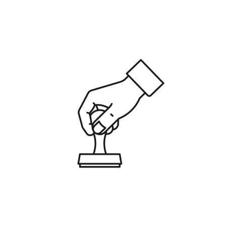 Hand with rubber stamp vector line icon for Notary Public Day on November 7