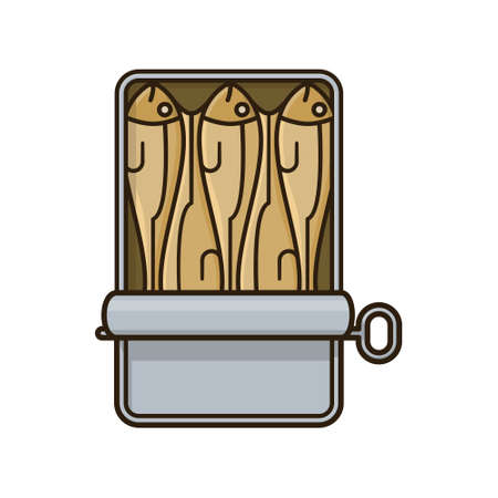 Opened can of Sardines isolated vector illustration for Sardines Day on November 24.