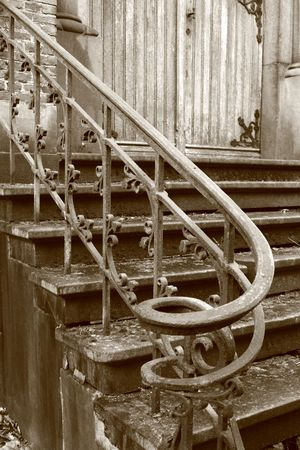 parapet: details of a parapet and stairs Stock Photo