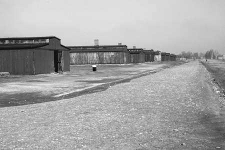 auschwitz: baracks in auschwitz