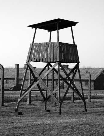 watchtower: watchtower in auschwitz Stock Photo