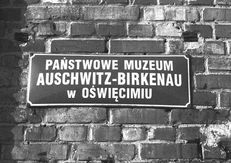 auschwitz: nameboard in auschwitz Stock Photo