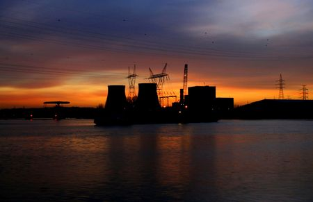 industrie: power plant at night Stock Photo