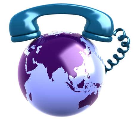 Telephone Receiver and earth globe
