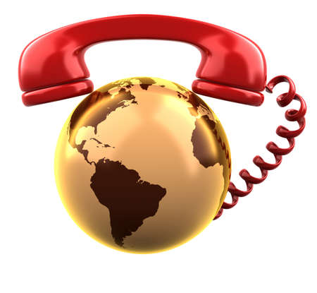 Telephone receiver on shiny gold earth globe  Stock Photo