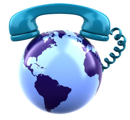 Telephone receiver on shiny gold earth globe  Stock Photo