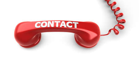 Telephone Receiver and Contact label on it  Stock Photo
