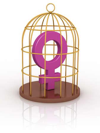 Female symbol in a cage