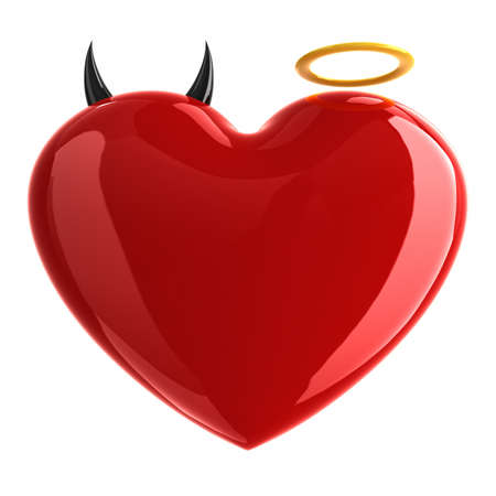 Heart with devil and angel symbols isolated on white