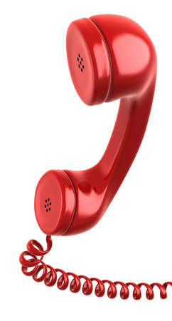 Red telephone receiver Isolated on white