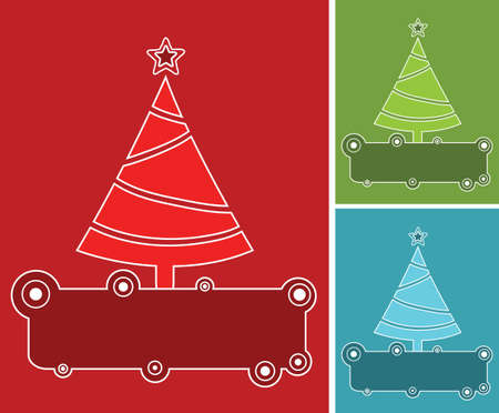 Banners with christmas trees in three colors. Illustration
